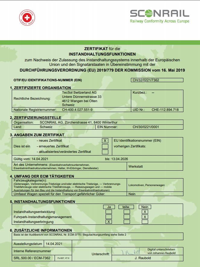 ECM Zertifikat Bild