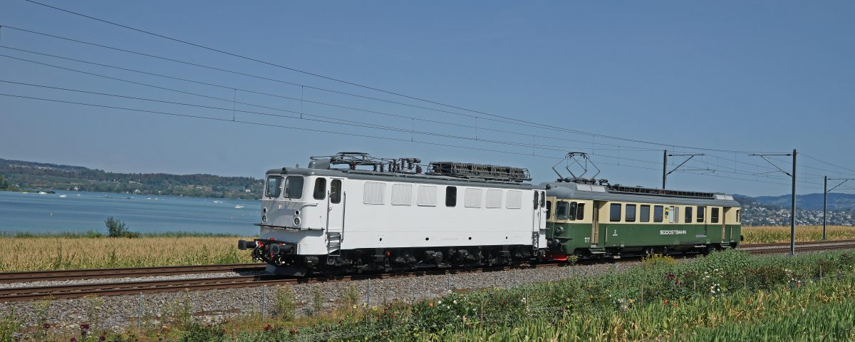 91 80 6 142 103-1 D-EGP hinter dem BDe 576 048 als 99425L auf dem Seedamm bei Pfäffikon SZ;20180809